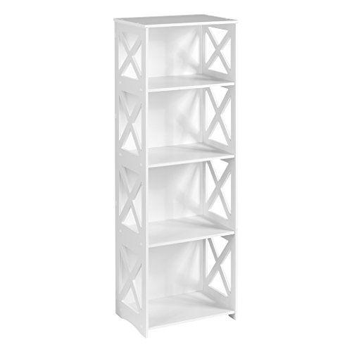 Finether weißes Regal Stehregal Standregal Steckregal Schuhregal Bücherregal für Wohnzimmer Badezimmer zur Aufbewahrung von Bücher Schuhe