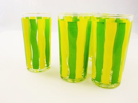 Set of Six Drinking Glasses  - Yellow and Green - Wavy Vertical Lines - 10 Oz. Glasses - Mix and Match - Iced Tea or Lemonade