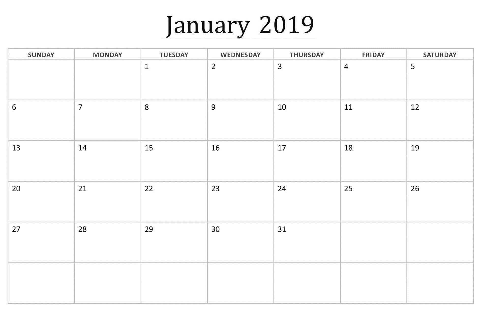 January Editable Basic Calendar