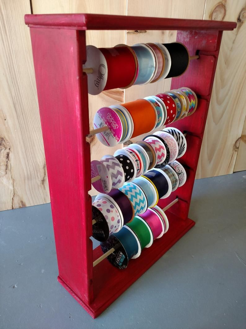 Ribbon Spool Rack Organizer White Black Red Grey Ribbon