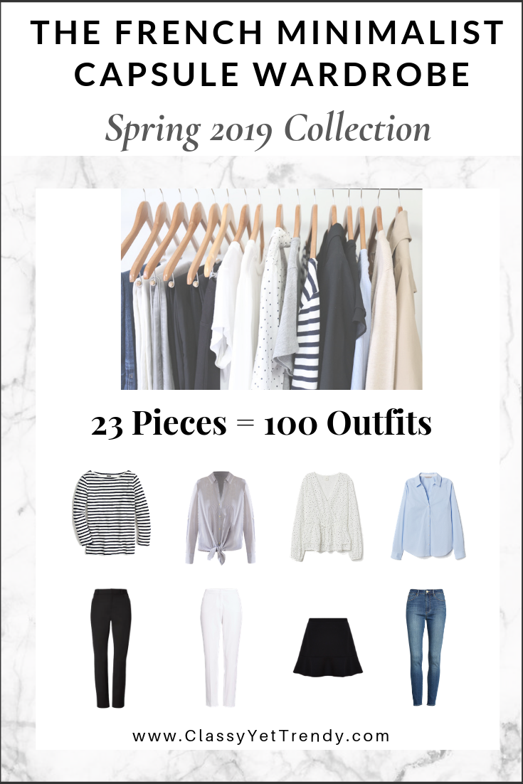 f0f74c890c821 French Minimalist Capsule Spring 2019 eBook - There are 100 outfit ideas  included from just 23 neutral color clothes and shoes, most you may already  have in ...