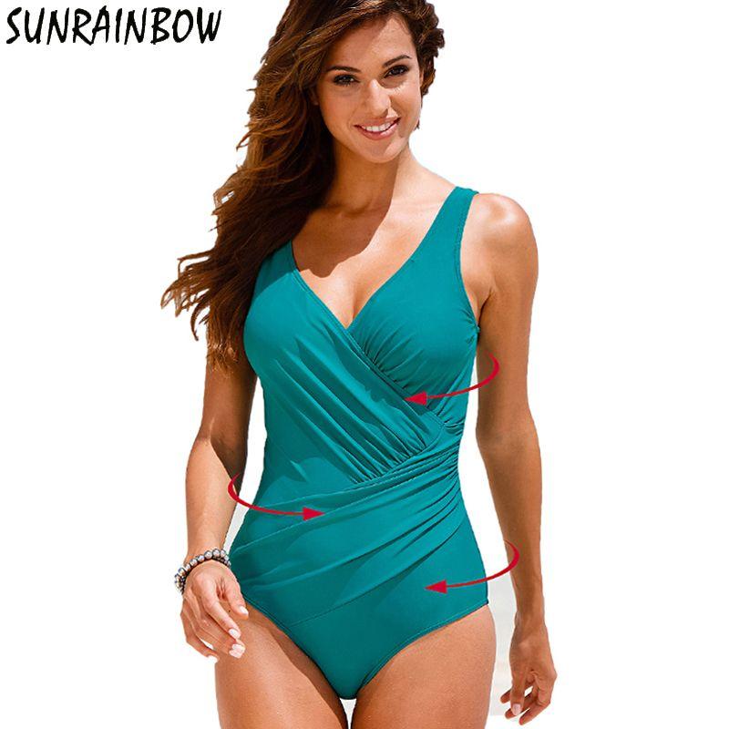d31c844974311 Plus Size Swimwear Women 1 One Piece Swimsuit Solid Big Swimwear Large Size  Vintage Retro Swimsuit Bathing Suits Swim Black