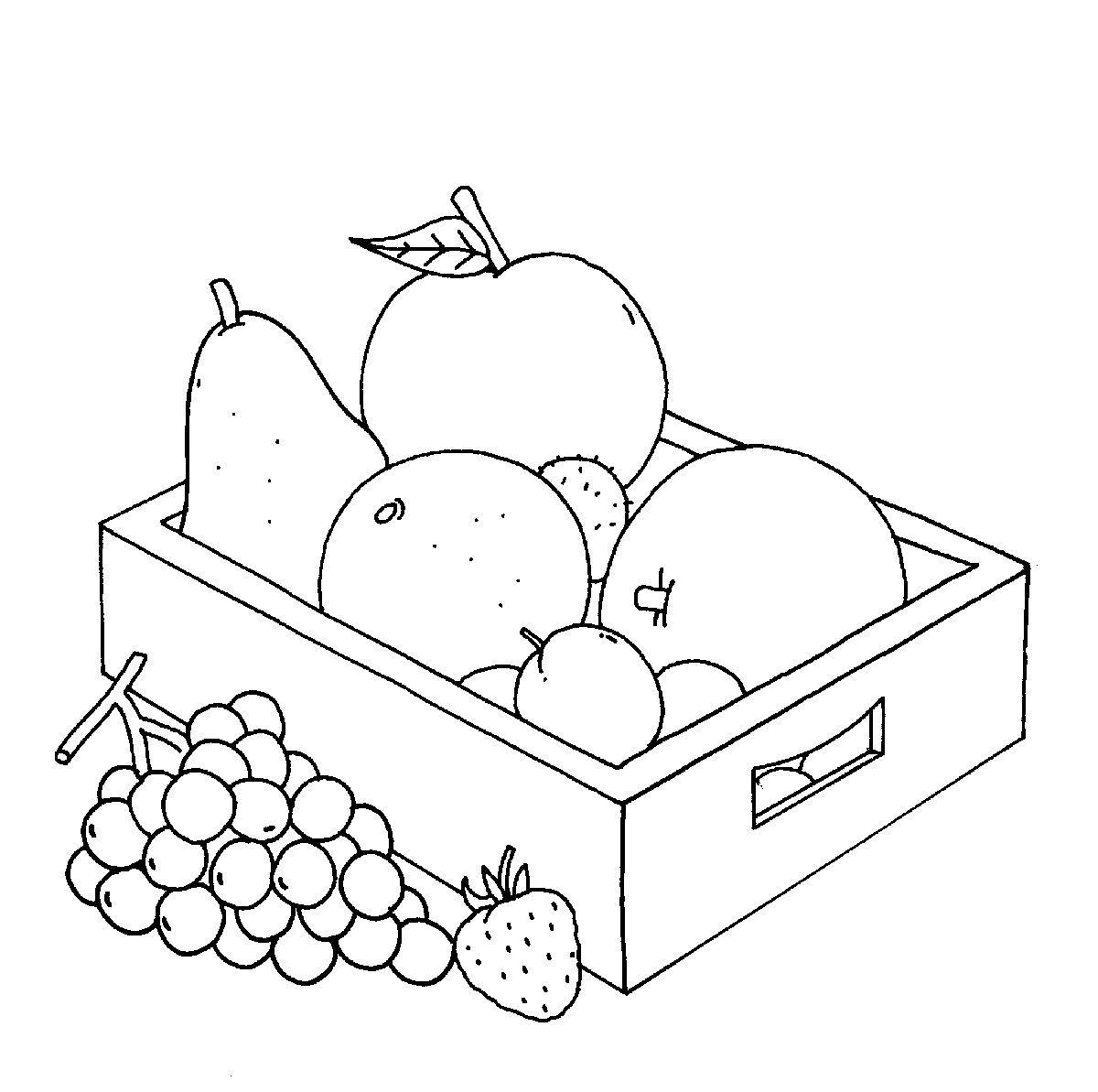 Ausmalbild Bauernhof: Obstkiste kostenlos ausdrucken | Ausmalbilder ...