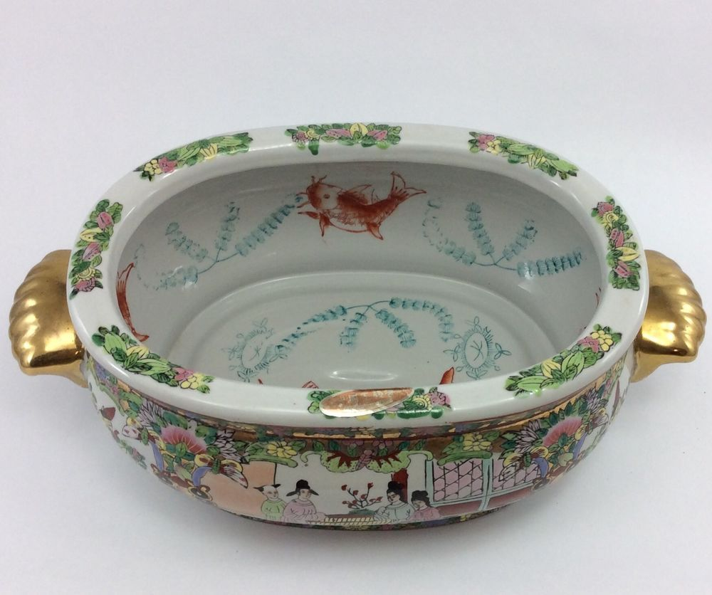 Asian Porcelain Vintage Fish Bowl Oval Planter Chinese Japanese