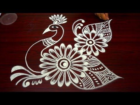 latest simple peacock kolam designs with out dots easy rangoli