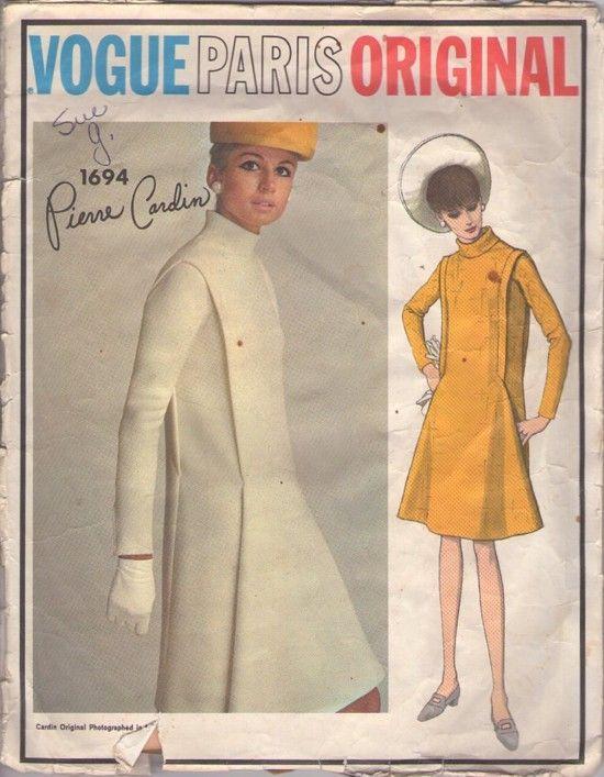 Vogue 1694 Vintage 60's Sewing Pattern STELLAR Paris Original Designer Pierre Cardin Mod Space Age Flange Trimmed Flared Skirt Dress #MOMSPatterns