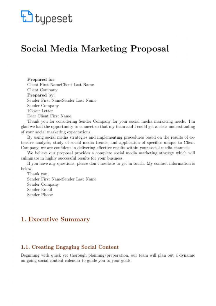 Social Media Management Proposal Template Marketing Proposal Proposal Templates Media Marketing