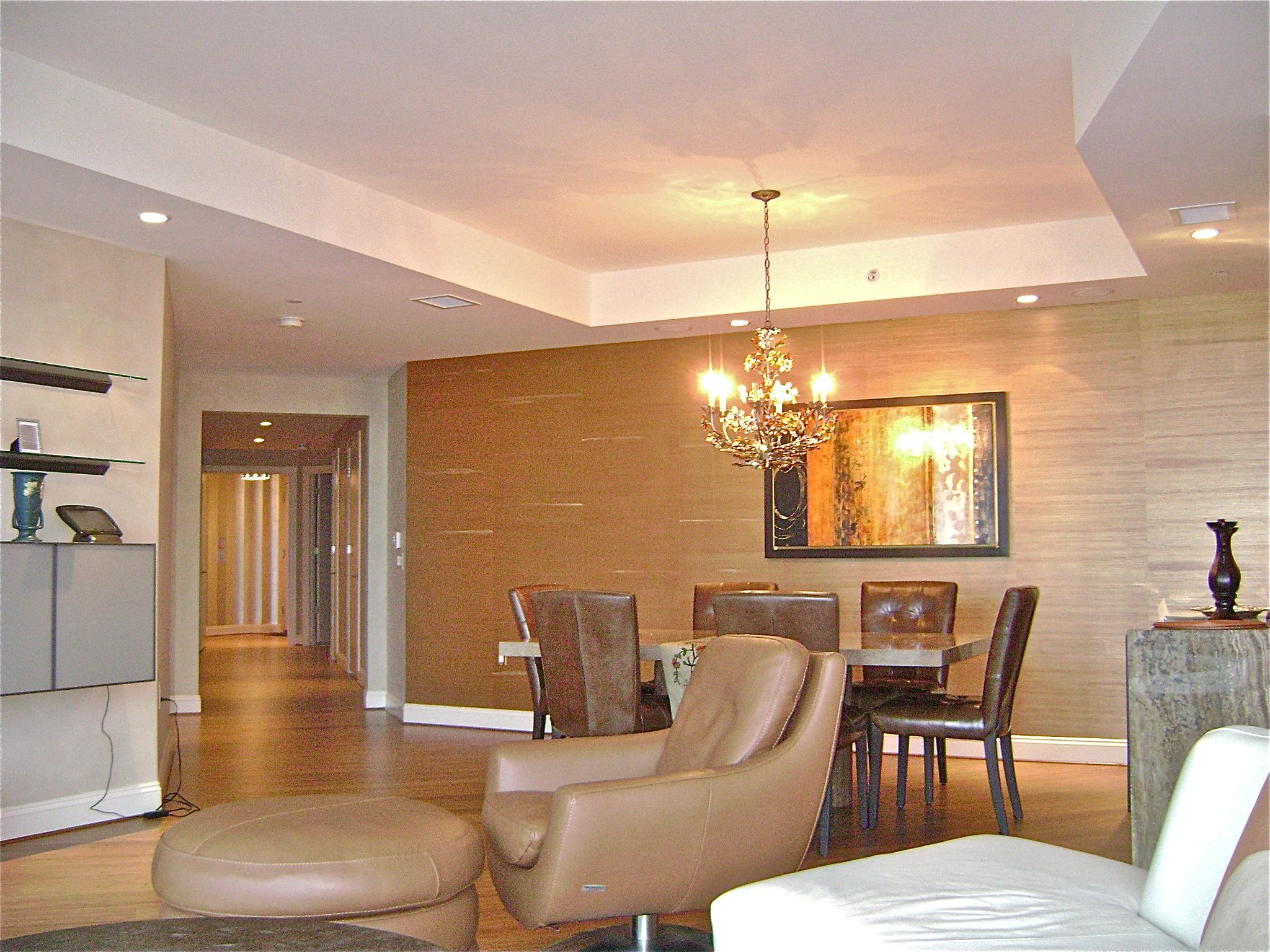 one wall in grasscloth Accent walls in living room