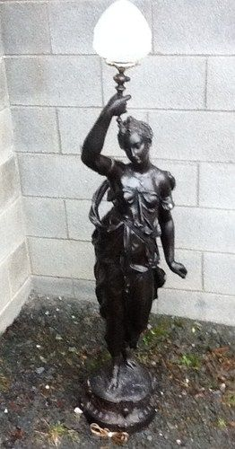 Large Victorian Spelter Lady Statue Newel Post Lamp 58 Tall Victorian Lighting Newel Posts Victorian