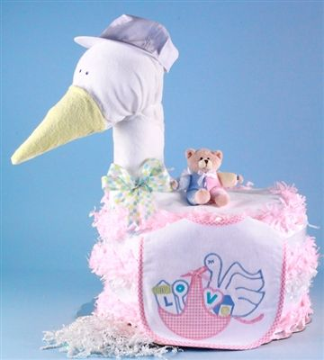 Stork Delivers Diaper Cake-Baby Girl by Baby Gifts N Treasures.com