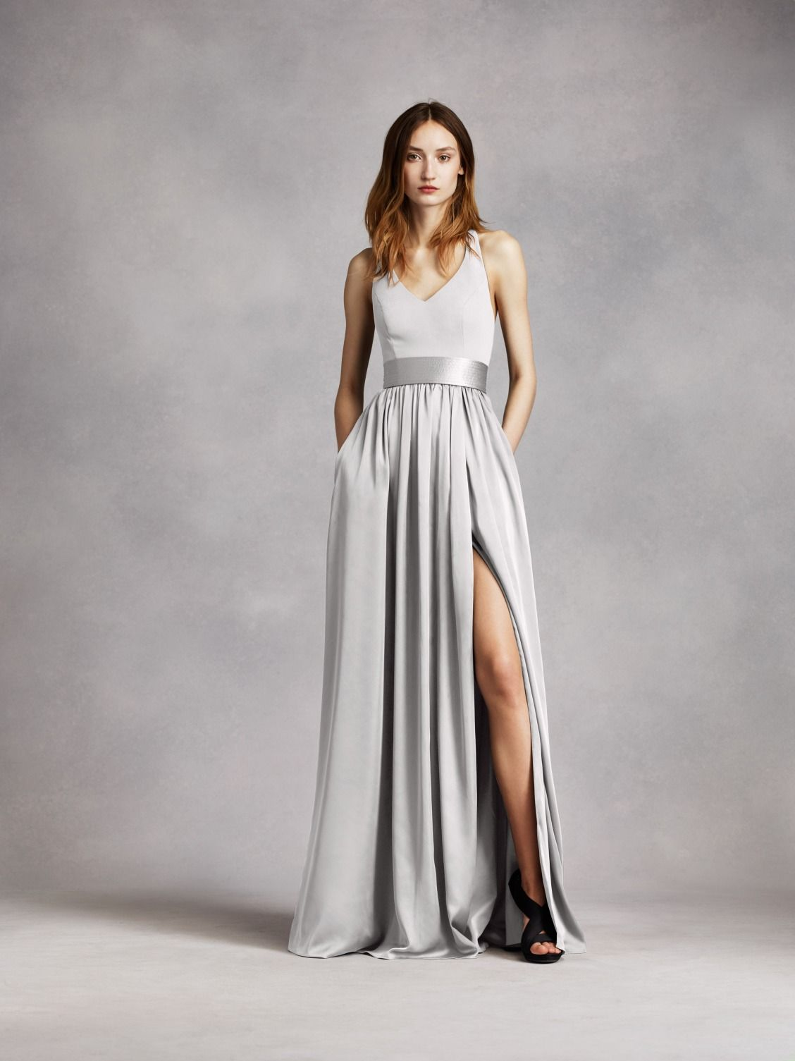 Long V Neck Halter Gown with Sash White by Vera Wang Bridesmaid ...