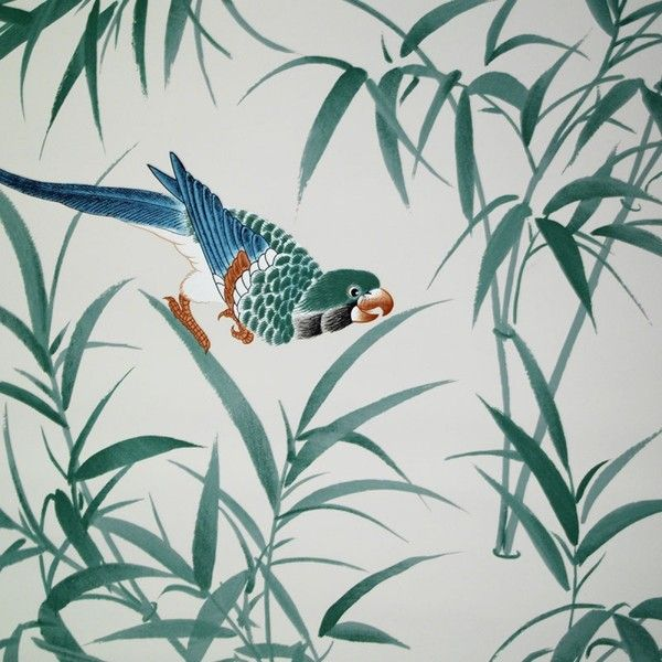 Bob Collins And Sons Turquoise Bamboo U0026 Birds Wallpaper ($461) Found On  Polyvore Featuring