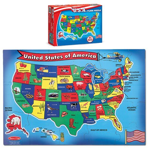 U.S.A. Map Floor 51-Piece Puzzle | Street Styles Summer | Pinterest ...