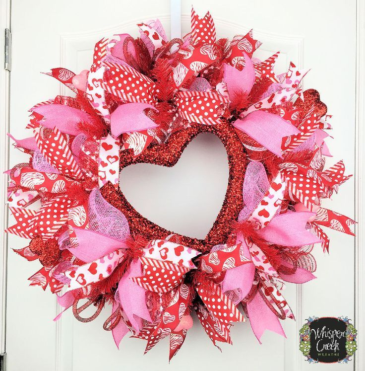 Valentine Day Wreath   Front Door Deco Mesh Wreath   Valentine   Pink  Valentine