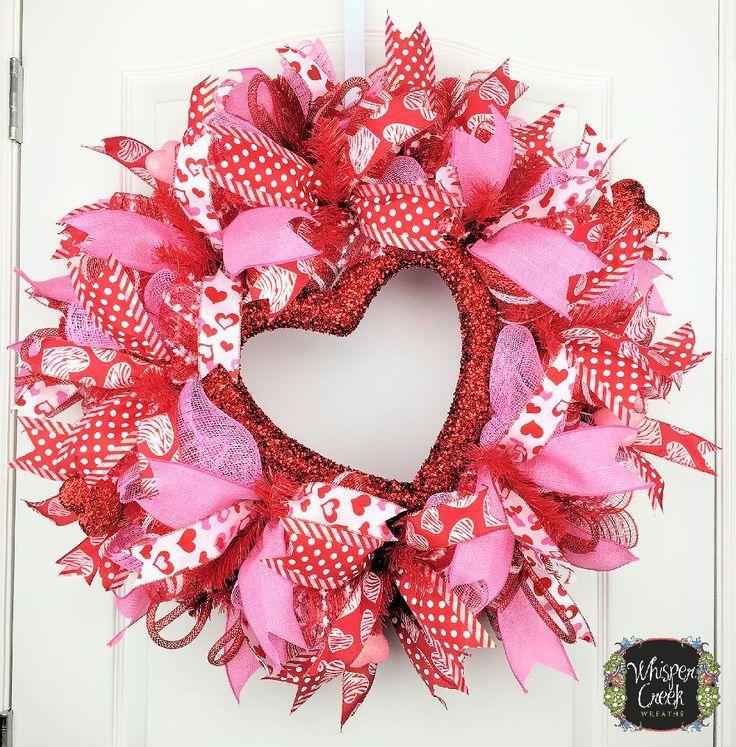 Valentine Day Wreath   Front Door Deco Mesh Wreath   Valentine   Pink  Valentine