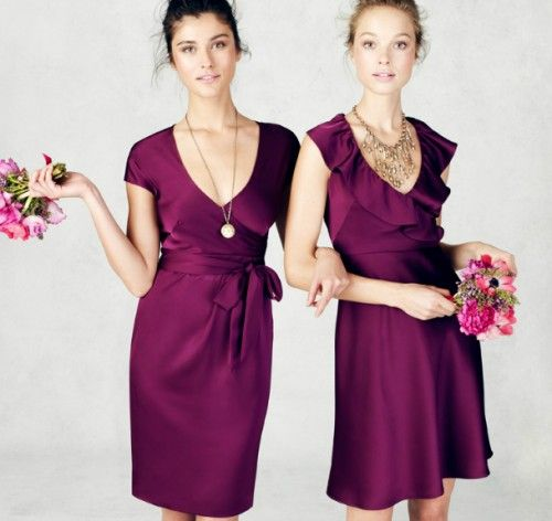 0e0d7efa8 Vestidos cortos y elegantes para damas de honor en color vino - Foto   J.Crew Bridesmaid Collection