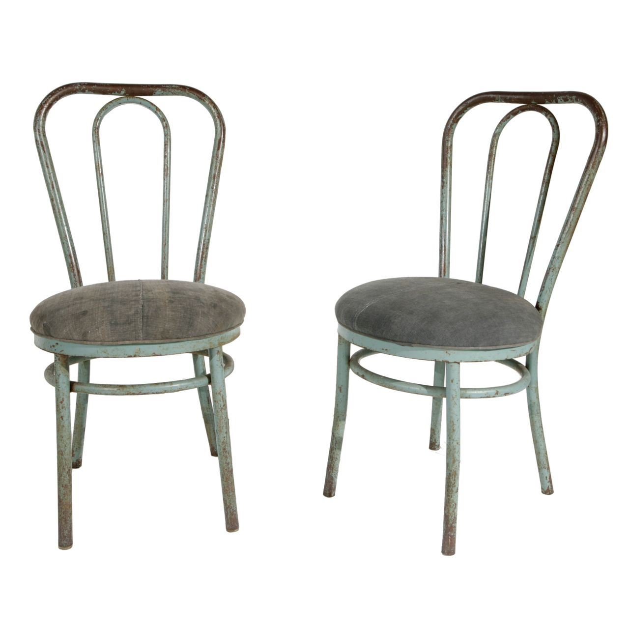 Marvelous Pair Of Bent Metal Thonet Inspired Dining Chairs