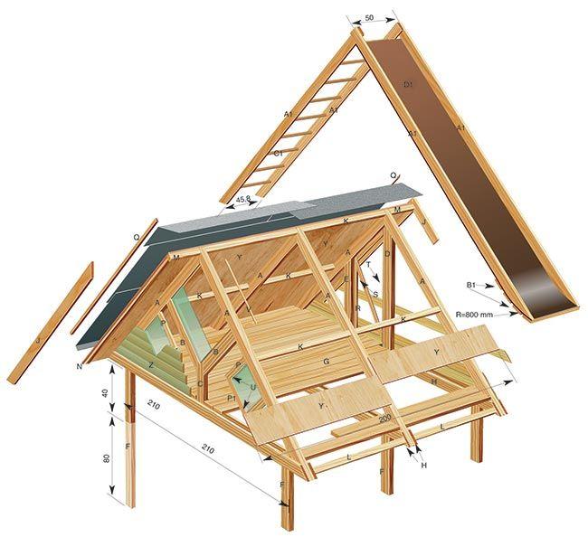 Disegno casetta di legno giochi giardino pinterest - Progetto casa sull albero per bambini ...
