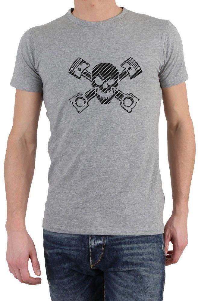 Piston skull printed in carbon fiber t-shirt tee top shirt