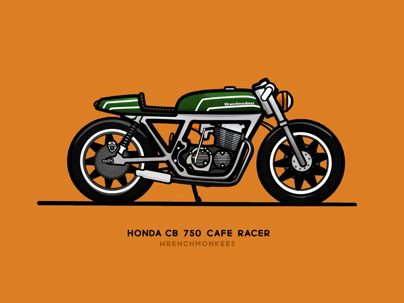 Cb 750 Cafe Racer Wrenchmonkees Cafe Racer Motorcycle Cartoon Cafe Racer Parts