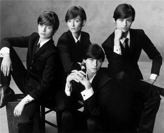 Fanni Bostrom as John Lennon, Audrey Marnay as Ringo Starr, Tasha Tilberg as Paul McCartney and Trish Goff as George Harrison
