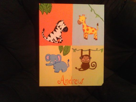 Jungle Baby Handpainted Wall Art  FREE PERSONALIZATION by alliegirl97 on Etsy, $35.00