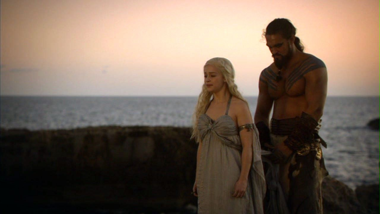 Daenerys targaryen and khal drogo wallpaper daenerys targaryen wedding - Khal Drogo Jason Momoa And Daenerys Targaryen Emilia Clarke From Game