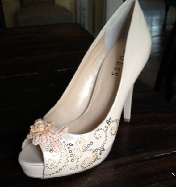 Bridal Wedding heels pumps shoes Fantasy Vintage Victorian Nude ivory pearl crystal lace rose floral faerie tale peep toe slippers on Etsy, $120.00