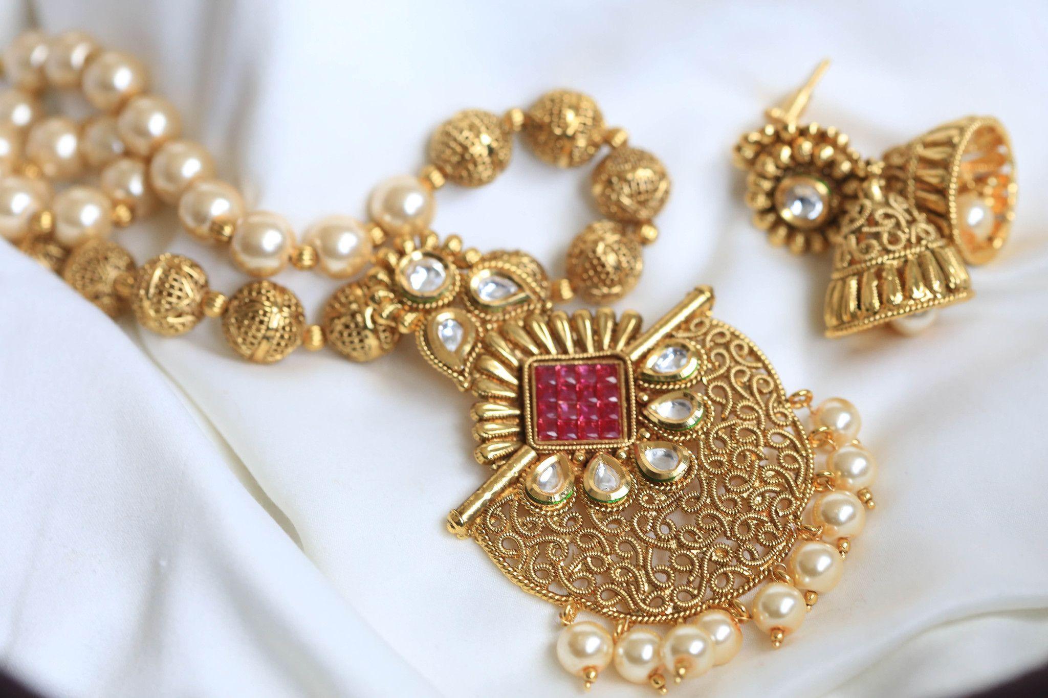 Kundan ruby polki necklace set products pinterest