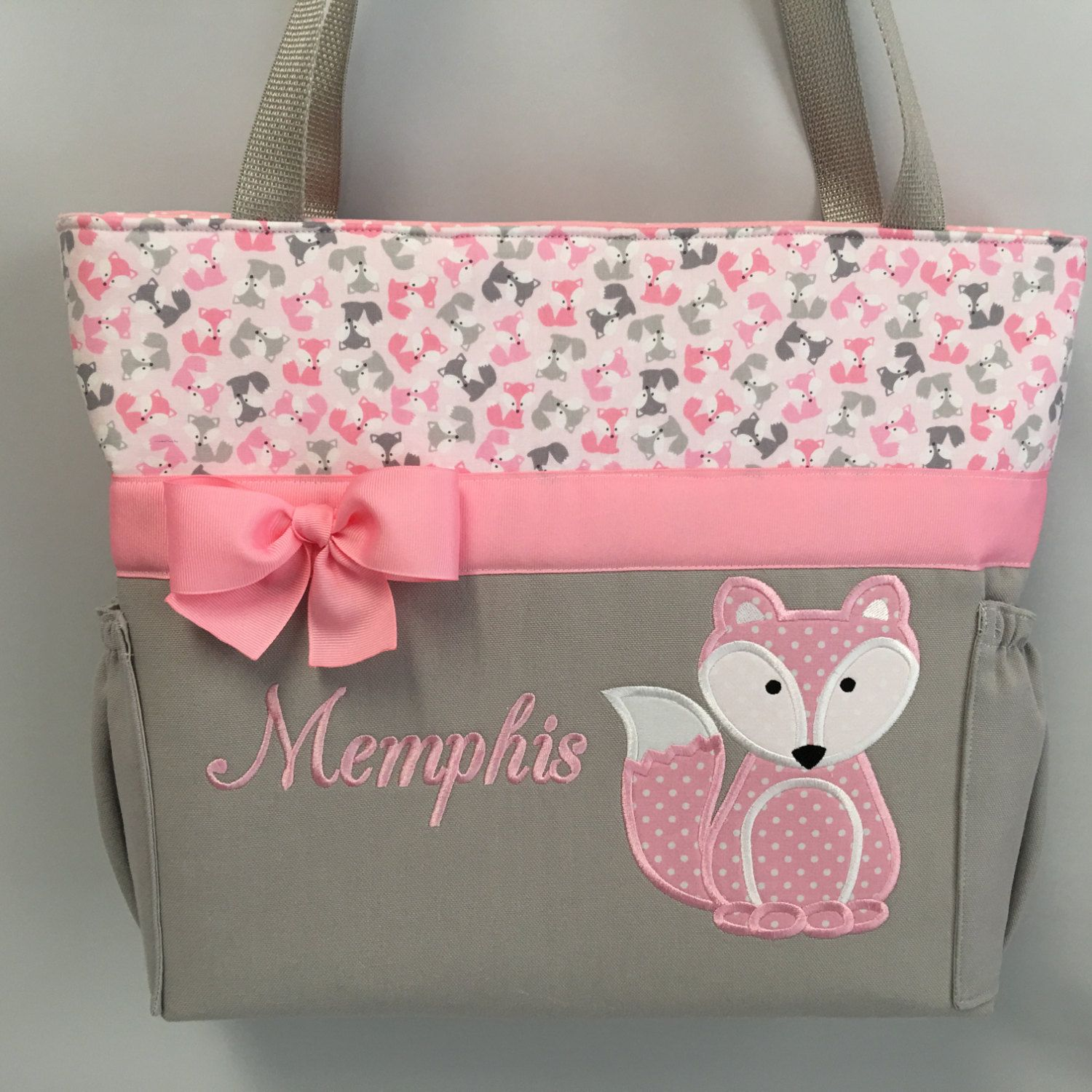 FOX Pink ... Urban Zoologie ...  FoXES .. DIAPER Bag .. Applique  ... Bottle Pockets ... Personalized Free by TweedleTotes on Etsy