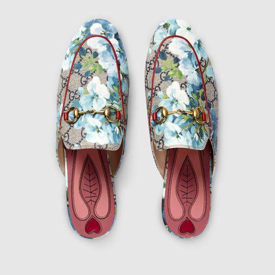 058de7f50aa56 Princetown GG Blooms slipper in Blue Blooms Print