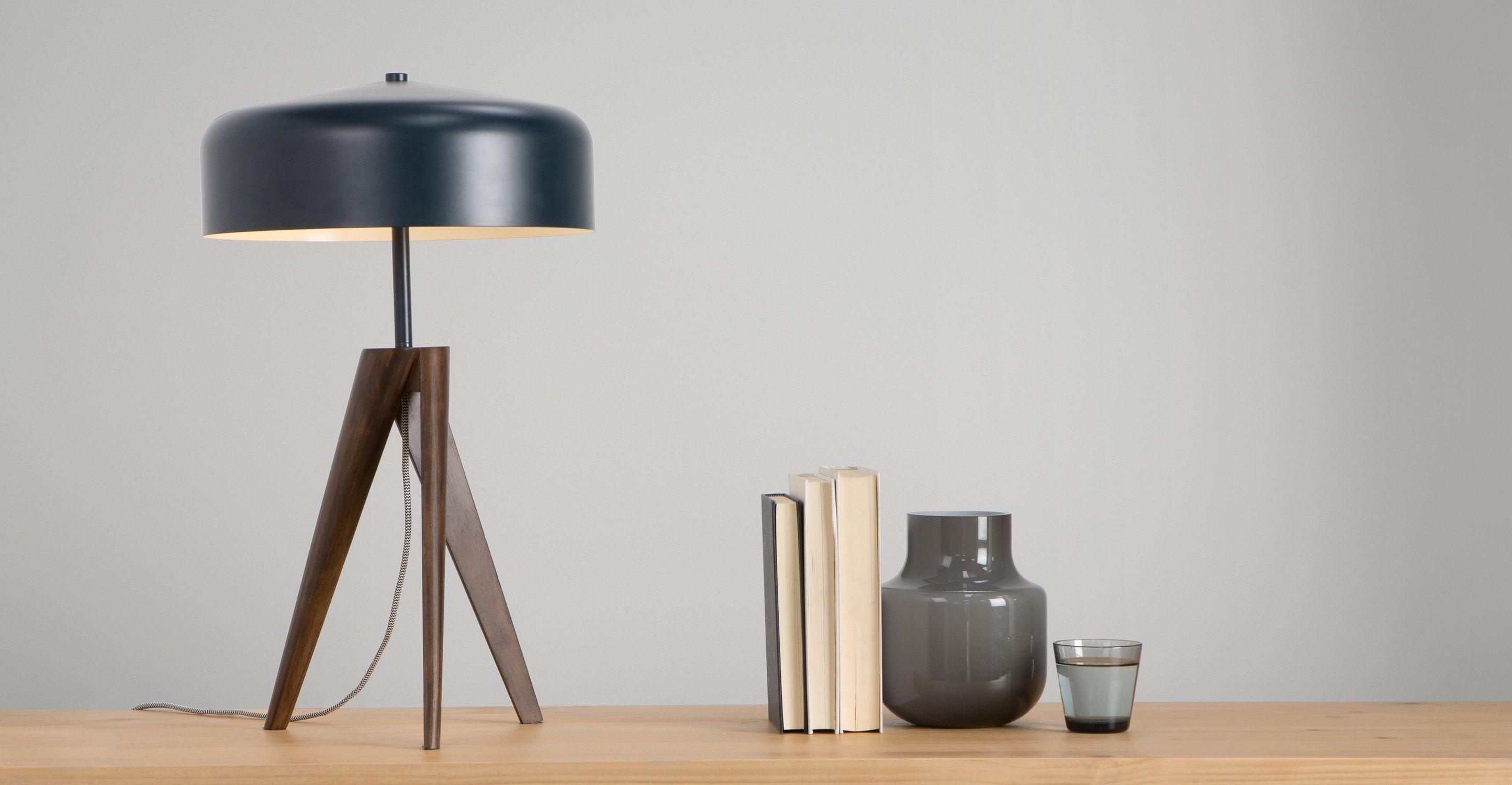 Madison Table Lamp, Navy Blue And Dark Wood ▻ Moderne Design Leuchten In  Vielen