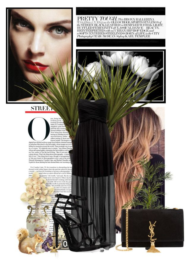 """Black"" by fanny483 ❤ liked on Polyvore featuring Forever New, Yves Saint Laurent, Giuseppe Zanotti, Nearly Natural, RabLabs and Wedgwood & Bentley"