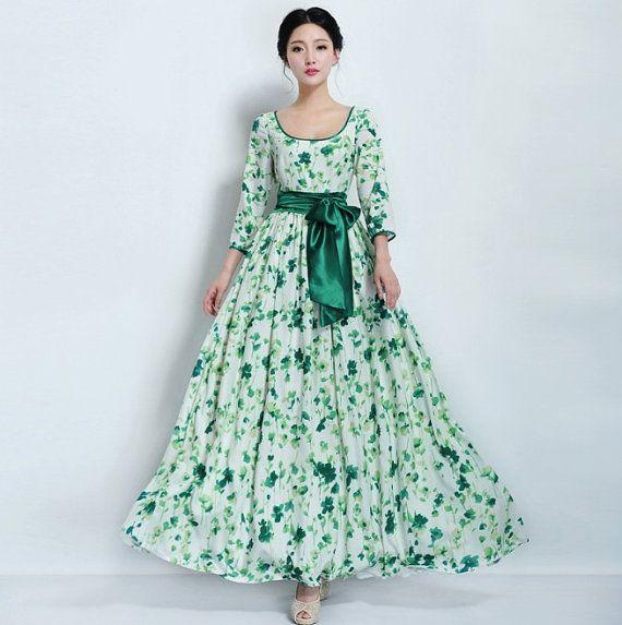 Floral Print A-line Dress Wedding Bridesmaid Bohemian Green White ...