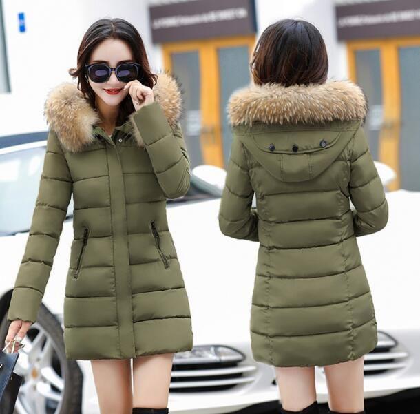 ee410ec0c7c1 Winter Womens Mid Long Down Cotton Jacket Warm Padded Coat Slim Fit Hooded  Parka