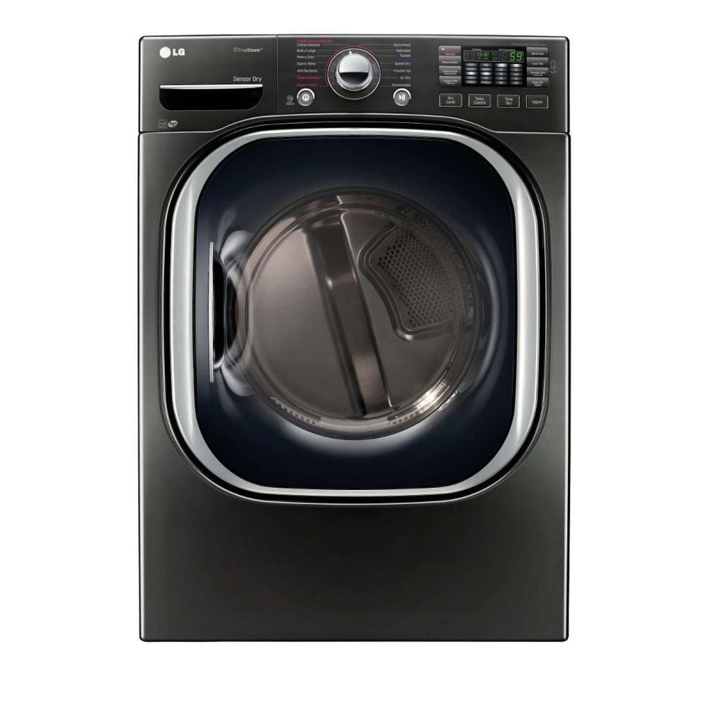 Truesteam 7 3 Cu Ft Black Stainless Steel Stackable With Steam Cycle Electric Dryer Laundry Room Storage Electric Dryers Gas Dryer