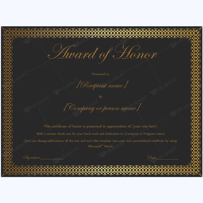 Award Of Honor Black Gold Design Award Of Honor Certificate
