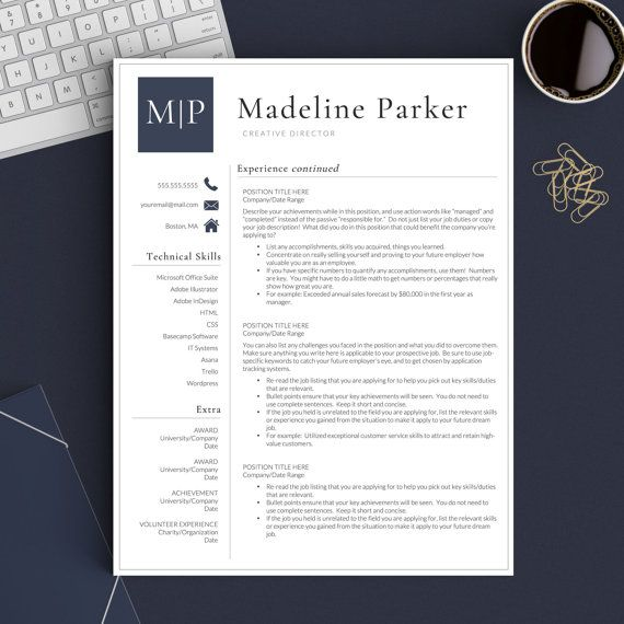 Professional Resume Template for Word and Pages The Parker - pages resume templates mac