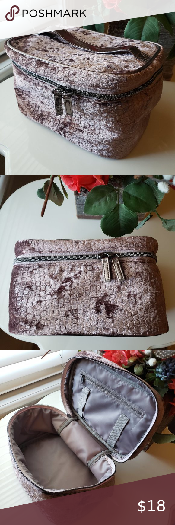 NEW Reptile Velvet Soft Train Case Makeup Bag in 2020
