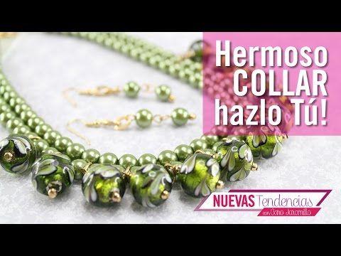 a8f4c7e90b3a Como hacer un collar en Indian Glass verde con Caro jaramillo Episodio 7  Kit 23066 - YouTube