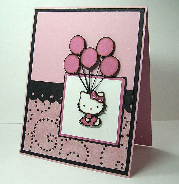 Hello Kitty Balloons Handmade Card Hello Kitty Birthday Cards Handmade Hello Kitty Party