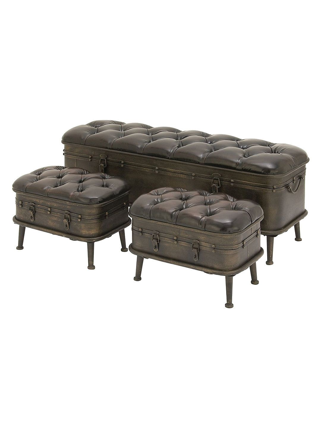 Rustic Reflections Storage Benches (Set of 3) by UMA at Gilt