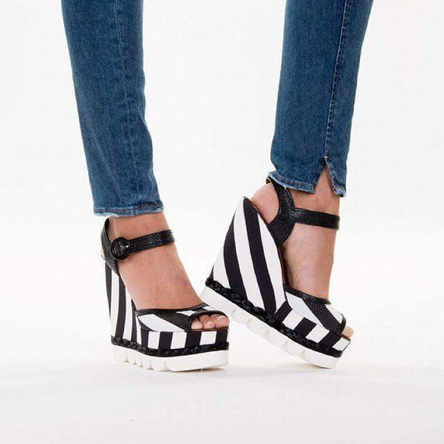 Striped Wedge Sandals by Dolce & Gabbana