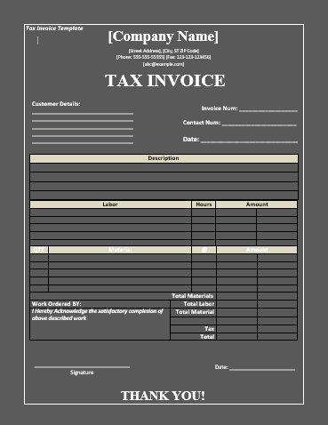 Tax Invoice Templates 8 Free Printable Word Excel Formats Samples Examples Forms Receipt Template Invoice Template Printable Invoice