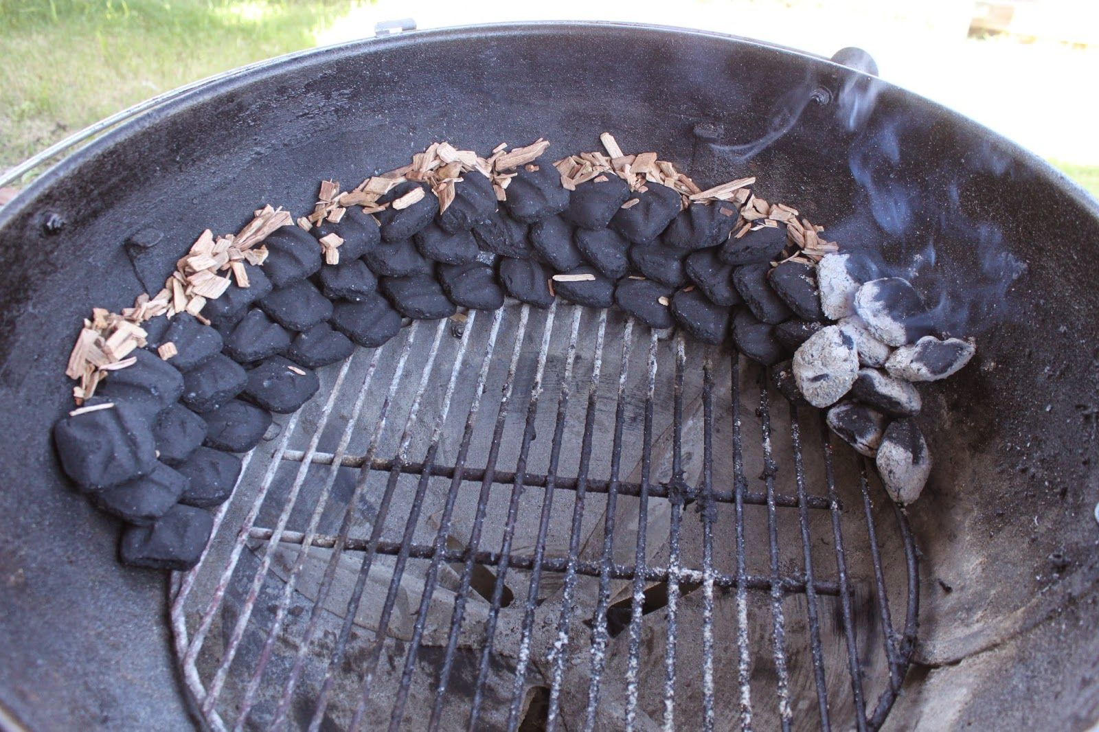 Gobluebbq indirect cooking on a charcoal grill smoke