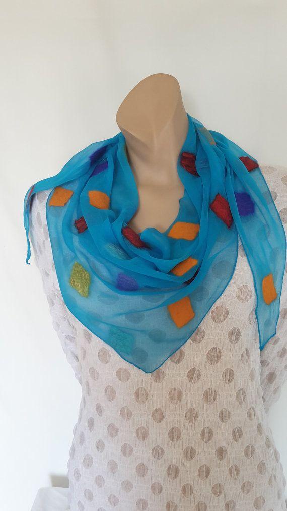 Nuno felted triangle scarf Sommer от AtelierLenaOM на Etsy
