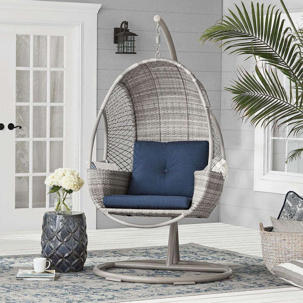 Outdoor HandWoven AllWeather Wicker Hanging Egg Chair on