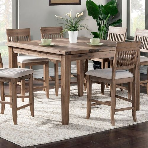 Alpine Furniture Aspen Extension Pub Table Iron Brush Antique Natural Pub Tables Counter Height Dining Table Dining Table In Kitchen Solid Wood Dining Set