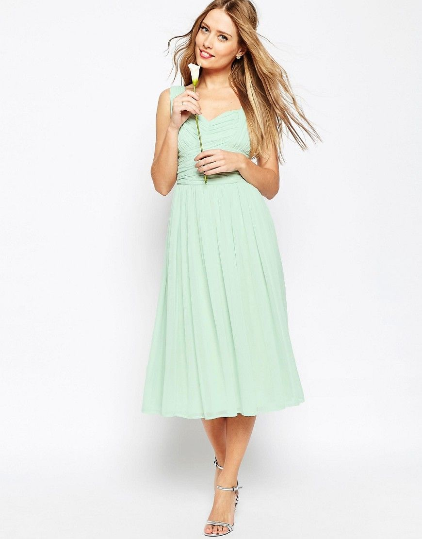 25d44a73f6 Image 1 of ASOS WEDDING Ruched Panel Midi Dress