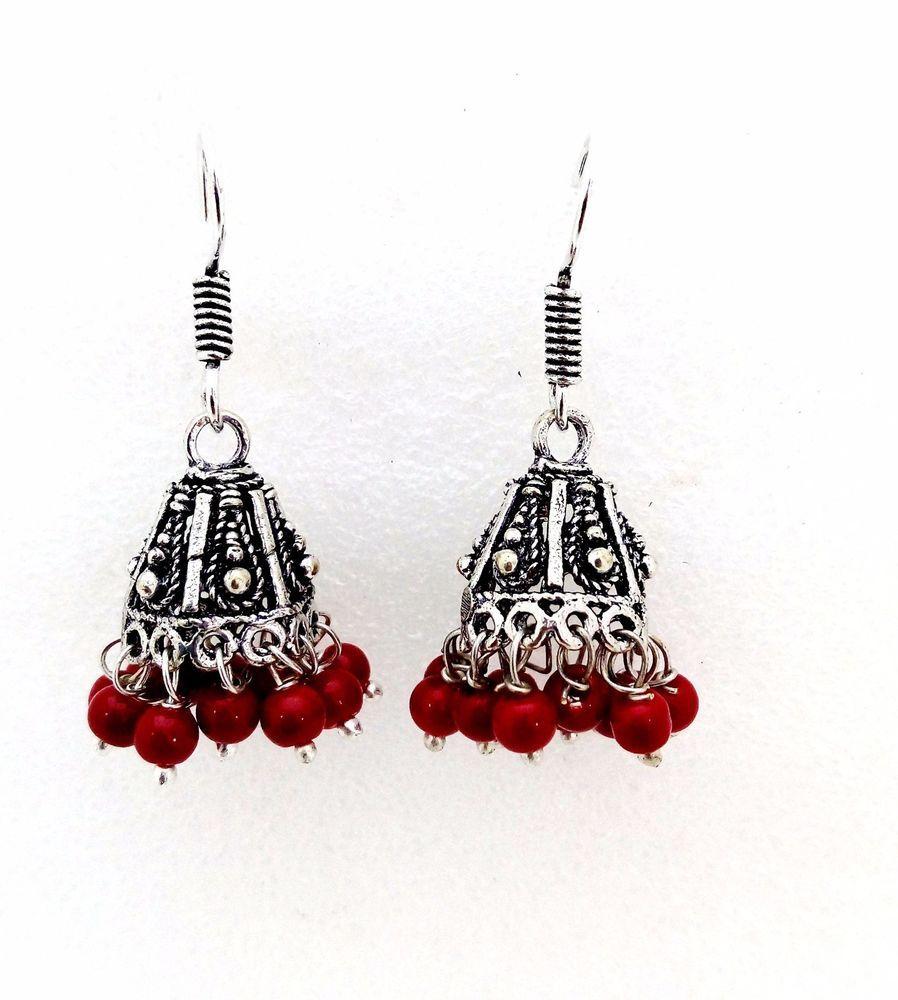 Fashion guaranteed german silver red pearls fashion women jhumki